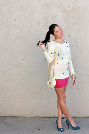 modcloth sweater - hot pink Forever 21 skirt