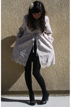 silver modcloth coat - black American Apparel dress - black Forever 21 tights -