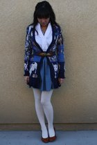 blue Anthropologie cardigan - brown seychelles shoes - blue Forever 21 dress - b