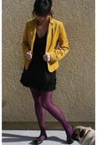 gold JCrew blazer - black Forever21 skirt - black JCrew t-shirt - black Jeffrey