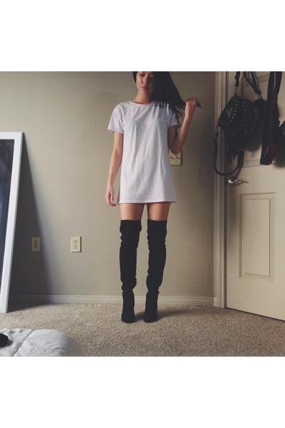 159bd98e41 black H M boots - white t-shirt dress thrifted dress