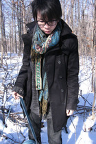 H&M coat - scarf - scarf - vintage purse - boots