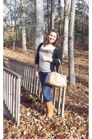 Charming Charlie shirt - DSW boots - American Eagle jeans - Charming Charlie bag