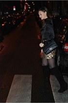black Kurt Geiger boots - black Chanel bag - camel Zara skirt