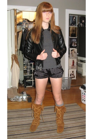 Wet Seal jacket - Gap sweater - made by me shorts - Minnetonka shoes
