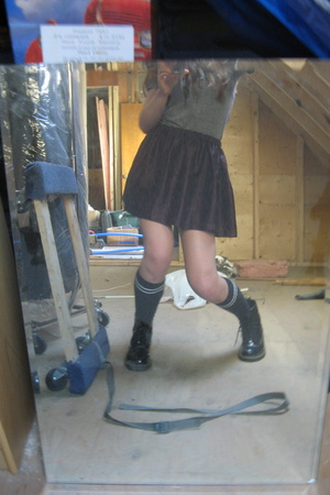 American Apparel t-shirt - made by me skirt - forever 21 socks - doc martens