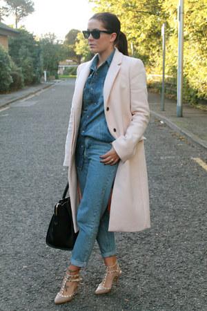 Zara coat - Topshop jeans - Topman shirt - Boohoo heels