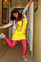 gold Marciano dress - pink H&M leggings - white liz claborne limited edition car