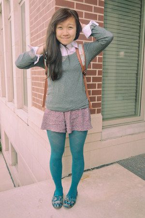 teal f21 tights - silver gilligan shirt - aquamarine Target bag