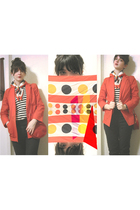 red vintage blazer - black Alfred Sung Pure pants - Joe Fresh sweater - yellow v