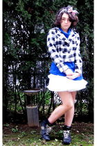 white American Apparel skirt - black Skechers shoes - blue Cache Cache dress - p