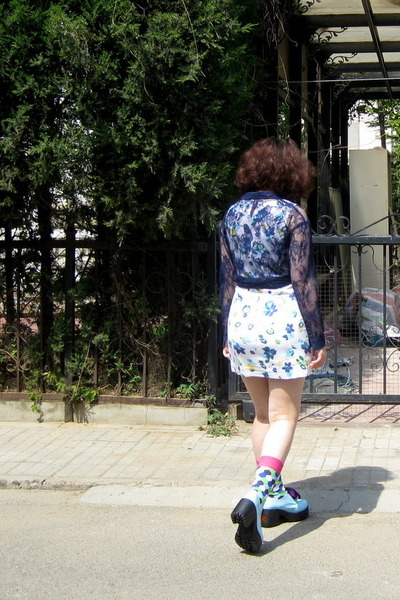light blue taobao shoes0 shoes - white Gap dress - navy H&M shirt - blue next so