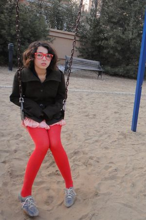 red unknown brand tights - silver kowalski shoes - pink H&M skirt - green H&M co