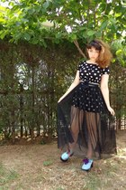 black polka dot Zara dress - sky blue Taobao shoes - black sheer H&M skirt