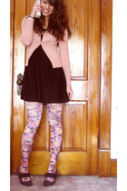 pink Forever21 tights - black Maurices dress - pink Forever21 sweater - gold nec
