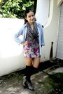 Blue-thrifted-jacket-gray-local-boutique-scarf-friday-to-suday-dress-black
