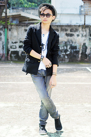 Gold Dot ring - Claires ring - Penshoppe shoes - Penshoppe blazer