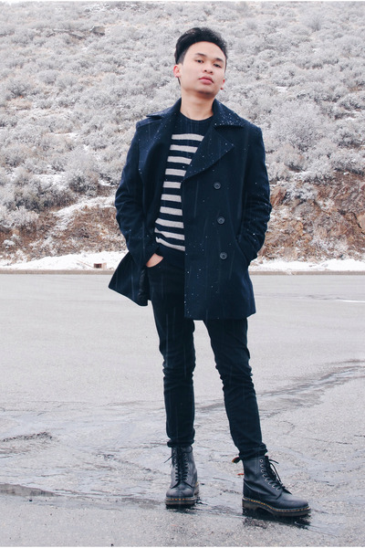 navy navy Forever 21 coat - black boots Dr Martens shoes - black black H&M jeans