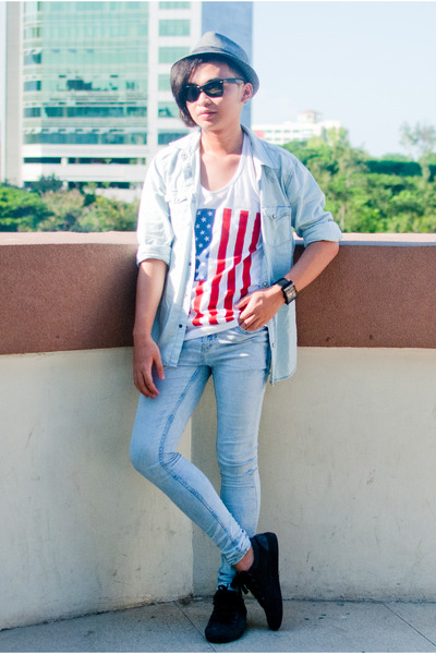 sky blue skinny jeans Topman jeans - gray gray calvin klein hat