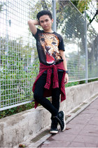 black mesh printed Topman t-shirt - black skinny Topman jeans