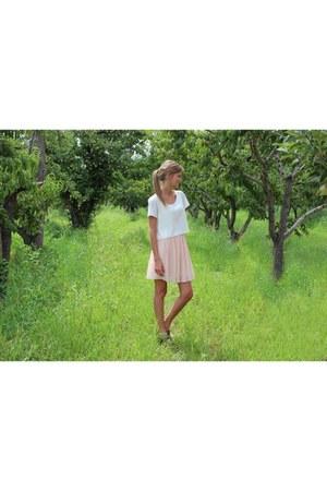 light pink chiffon Self Made skirt - white love crop asos shirt