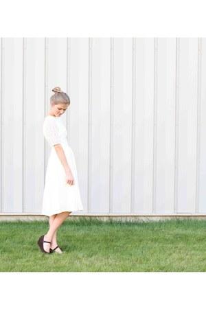 off white lace handmade dress