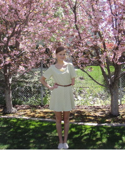 beige polka dot creme handmade dress