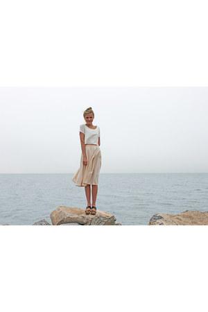 light pink pleated handmade skirt - white crop top asos top