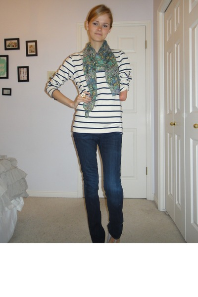 t-strap Urban Outfitters shoes - floral print Nordstrom scarf - wide striped Ame