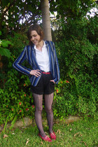 blue striped ben sherman blazer - Dotti shorts - white cotton SUPRÉ blouse