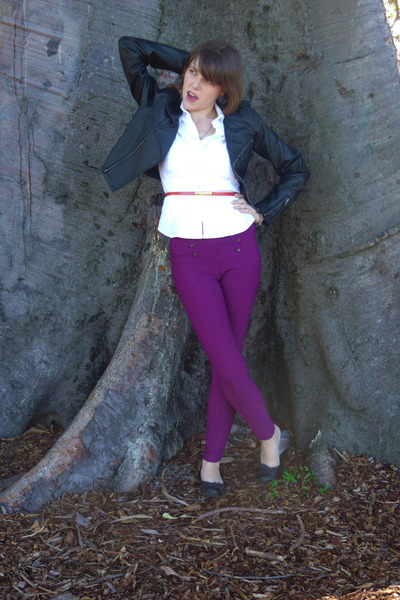 fake leather Jay Jays jacket - white cotton supre blouse