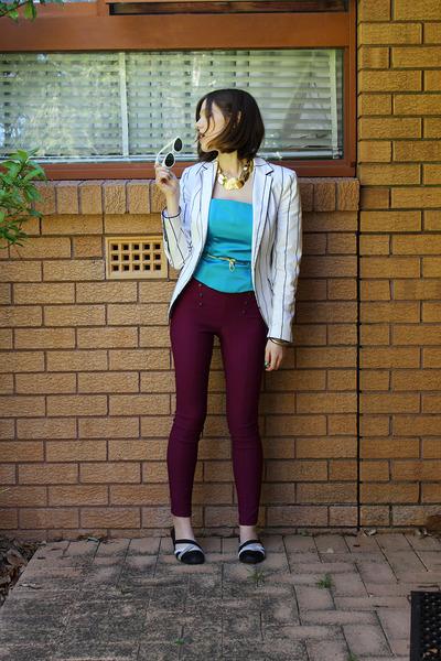 magenta Target leggings - off white Zara blazer