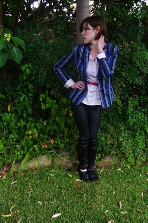 navy blue striped ben sherman blazer - light pink cotton H&M blouse