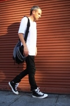 acne top - H&M sweater - maxpedition accessories - lee australia jeans