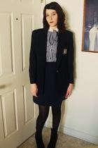 blue harbor district vintage blazer - blue harbor district vintage dress - black