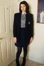 blue harbor district vintage blazer - blue harbor district vintage dress - black