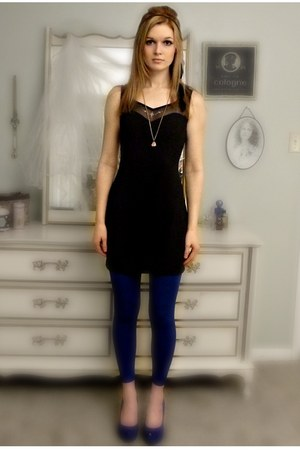 black rhinestone harbor district vintage dress - blue leggings