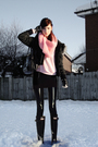 Pink-made-by-myself-scarf-pink-topshop-sweater-black-firetrap-coat-black-r