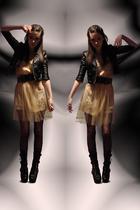 beige Rodarte for Target dress - black jacket - gray belt - black Miss Selfridge