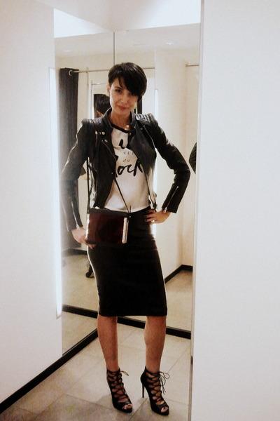 black Zara boots - black leather jacket Zara jacket - crimson Zara bag