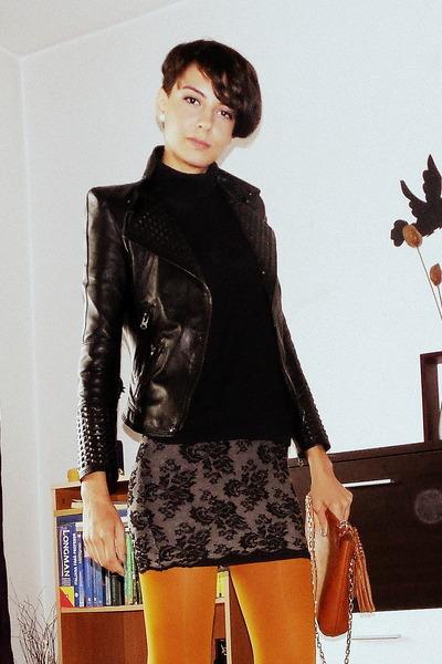 mustard Zara tights - leather Zara jacket - leather bag Zara bag