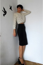 cream cropped Zara sweater - navy pencil Zara skirt - black Zara sandals
