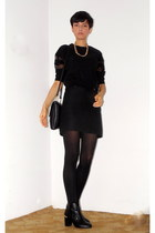 black H&M boots - black Zara tights - black with fur detail Zara bag