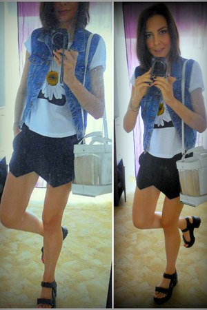 white vinyl Zara bag - black asymmetrical Zara shorts - denim pull&bear vest