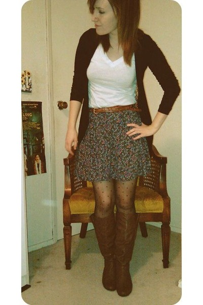 Brown Boots, Black Forever 21 Tights, Forever 21 Skirts, Brown ...