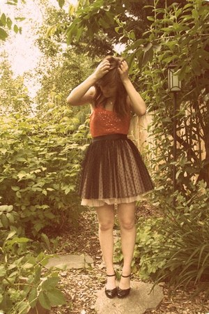 black thrift skirt - ruby red sequin top - black mary-janes wedges