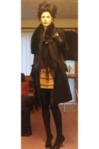 vintage skirt - dune shoes - Mango coat - M&S scarf
