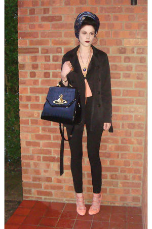 blue Topshop cardigan - pink asos shoes - black Zara coat