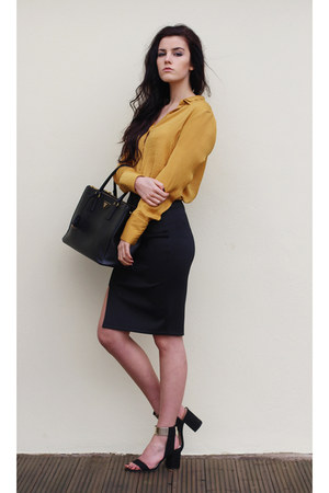 black Prada bag - gold Zara shirt - black Miss Selfridge skirt