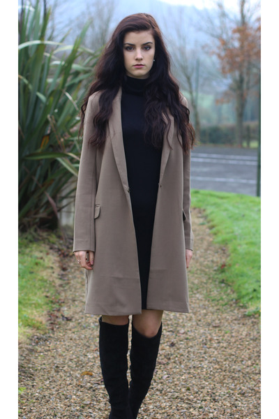black Zara boots - black Uniqlo dress - light brown asos blazer